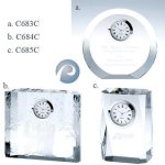 Circle Silver Clock Crystal Awards | Crystal Trophies